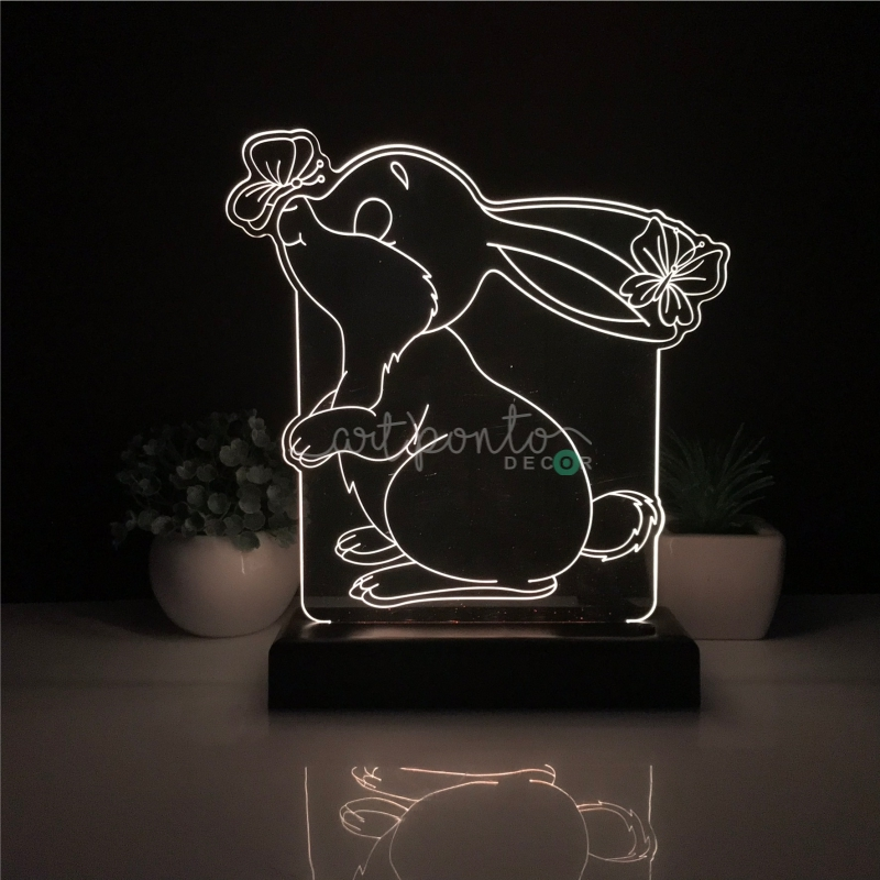 Abajur Luminária LED Coelhinho