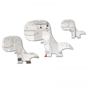 Kit 3 Dinossauros Em Espelho