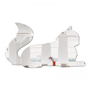 Gato Em Espelho Acrílico Decorativo