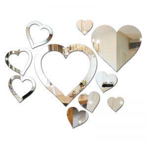 Kit 10 Corações em Espelho