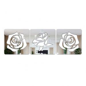 Espelho Decorativo Rosas Em Acrílico
